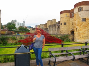 Sophie and the poppies at the Tower of London.
