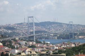 The bridge between Europe and Asia over the Bosphorus.