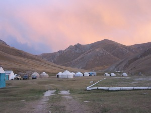 The yurt camp.