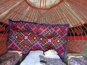 Inside my yurt.