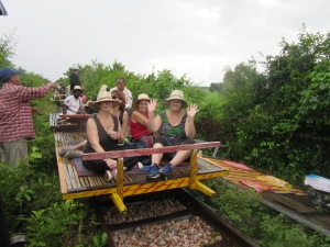 The Bamboo Railway. You can see our carriage, or norrie, in the background, on the ground. someone has to give way!