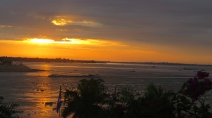 Sunrise over the Mekong this morning.
