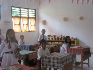 A classroom in Bahowo village. Sulawesi.