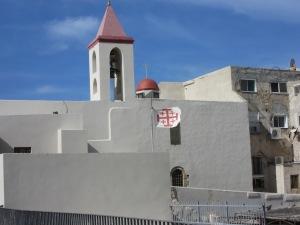 Saint John Church, Akko, with Crusader flag flying. I thought that was odd.