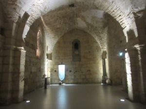 Below ground level the old rooms have been excavated. This is the dining hall for the knights.