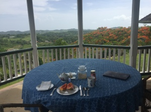 Breakfast table and the incredible view.