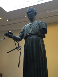 The Charioteer. He may be missing an arm but he has eyeballs and seems to follow you as you walk about the room. Spooky.